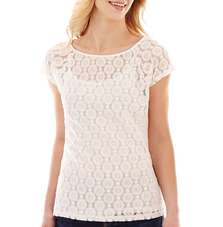 Liz Claiborne Short Sleeve Lace Tee With Cami Where To Buy How