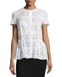 Short sleeve snap front peplum blouse white medium 851152