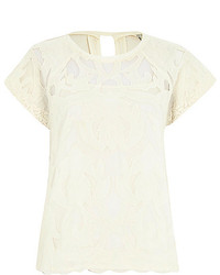 River Island White Short Sleeve Lace T Shirt