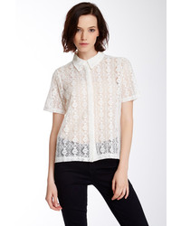 Dantelle Sheer Lace Front Button Shirt