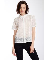 Dantelle sheer lace front button shirt medium 160638