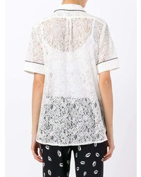 991c44c2 White Lace Short Sleeve Button Down Shirts for Women | Women's ...