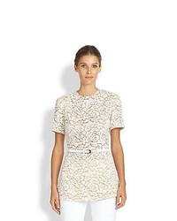 Michael Kors Michl Kors Short Sleeve Lace Shirt Optic White