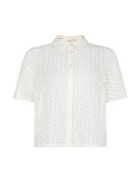 New Look Cream Short Sleeve Daisy Lace Boxy Shirt