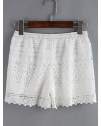 Elastic Waist Lace White Shorts