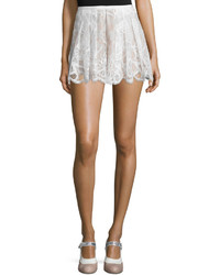 Alexis Kass Pleated High Rise Lace Shorts White