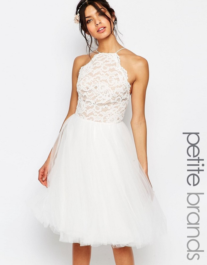 5217225e5b ... White Lace Skater Dresses Jarlo Petite High Neck Lace Top Prom Skater  Dress With Tulle Skirt ...