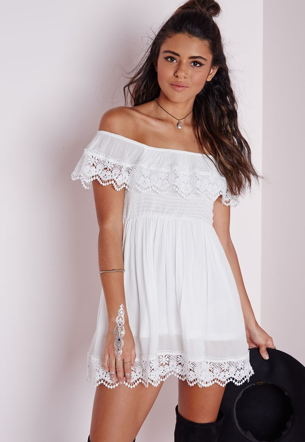 899c8f5f09 ... Missguided Cheesecloth Crochet Trim Bardot Skater Dress White ...