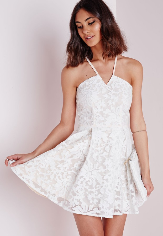 Missguided Lace Cross Back Skater Dress White 760f8a099