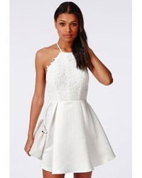 ... Missguided Lace Halterneck Skater Dress White 725ae063a