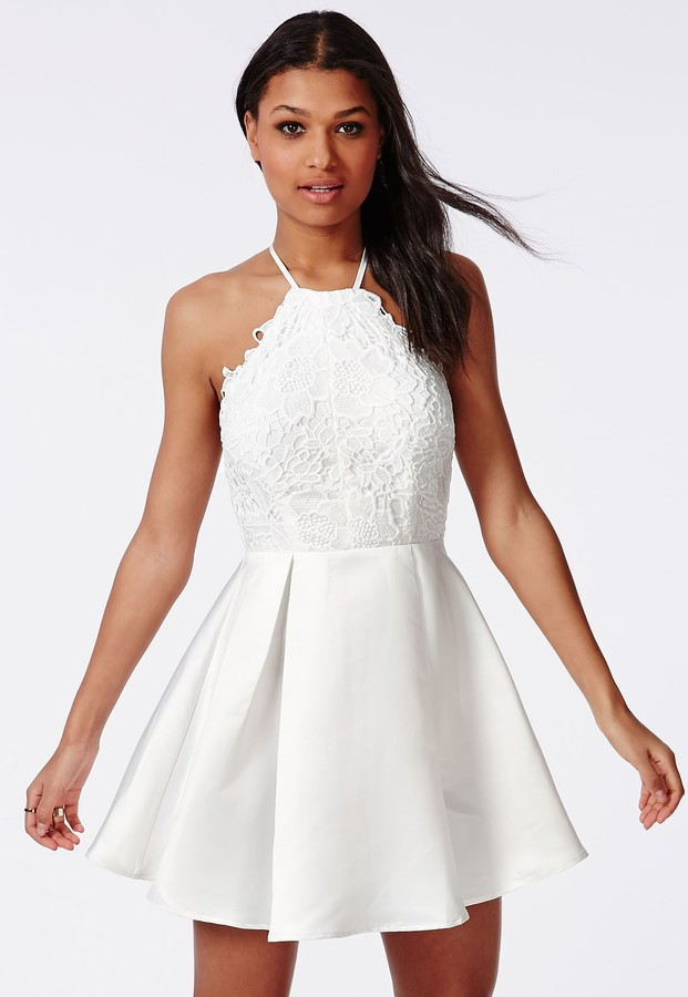 34ebd9bfa282 ... Missguided Lace Halterneck Skater Dress White ...