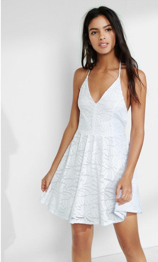 ... Express White Lace T Back Skater Dress White Large ... 53fb388ca