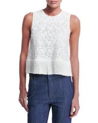 Derek Lam 10 Crosby Sleeveless Lace Fringe Trim Crop Top Soft White