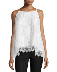 Derek Lam 10 Crosby Sleeveless Silk Lace Hem Top Soft White