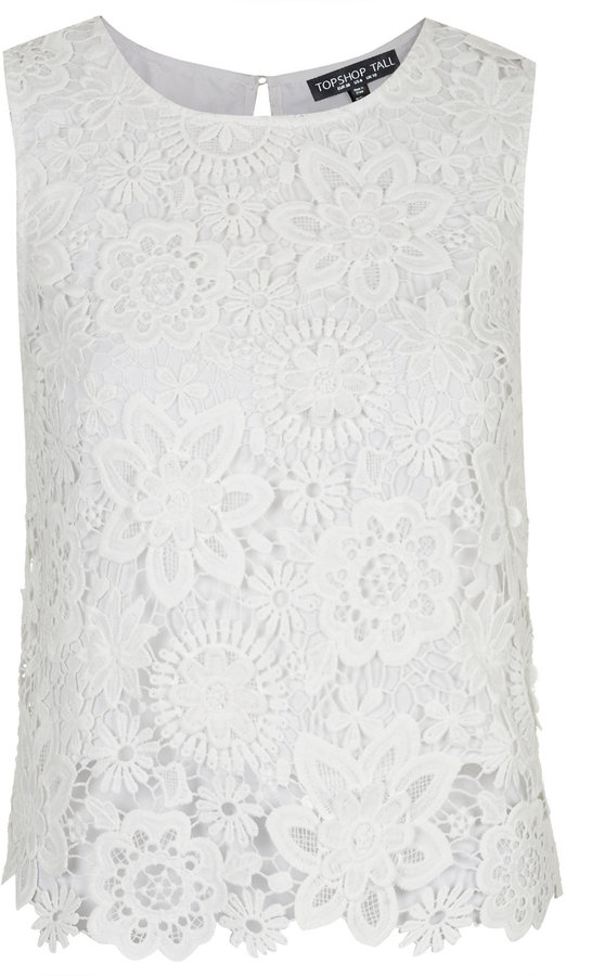 891d6c833a2b8 Tall 3d Lace Shell Top. White Lace Sleeveless ...