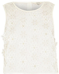 River Island White Embellished Floral Lace Top