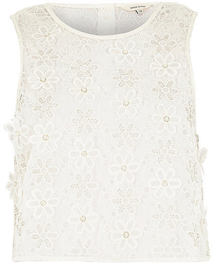 f3457a35bcceb ... Sleeveless Tops River Island White Embellished Floral Lace Top