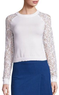 Alice + Olivia Gretta Raglan Lace Sleeve Pullover