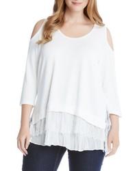 Karen Kane Plus Size Tiered Hem Cold Shoulder Sweater
