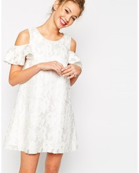 Asos Collection Textured Shift Dress With Lace Frill Cold Shoulder