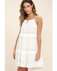 Moon River Sunrise Point Off White Lace Swing Dress