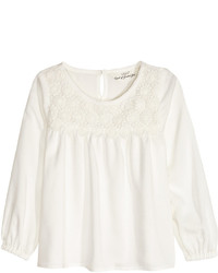 H&M Blouse With Lace Light Blue Kids