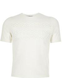 River Island Girls White Lace Insert T Shirt