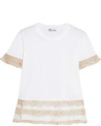 RED Valentino Redvalentino Macram Lace Trimmed Cotton Jersey T Shirt White