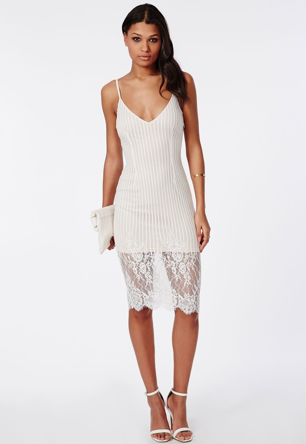 64 Missguided Lace Cami Midi Dress Cream