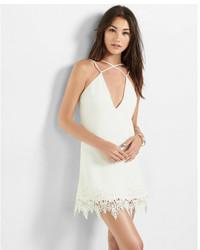 Express White Strappy Front Lace Hem Dress