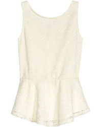 H&M Lace Peplum Top Natural White Kids
