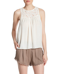 Melrose And Market Sleeveless Lace Yoke Tank