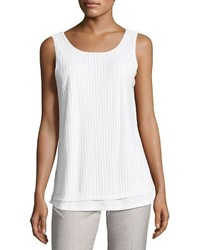 Neiman Marcus Scoop Neck Lace Up Back Tank White