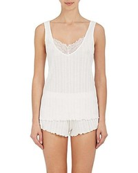 Skin Lace Trimmed Ribbed Pima Cotton Tank