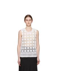 Comme des Garcons Homme Plus White Crochet Lace Tank Top
