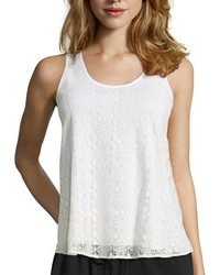 Wyatt White Lace Scoop Neck Tank