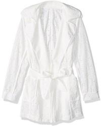 Trina Turk Monet Cap Ferrat Floral Lace Trench Coat