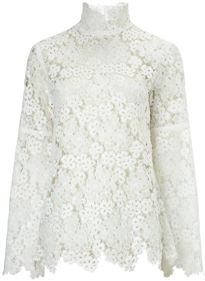 40ed5085f Macgraw White Lace Bell Sleeve Blouse, $550   Avenue32   Lookastic.com