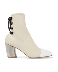 Proenza Schouler Lace Up Glossed Textured Leather Ankle Boots