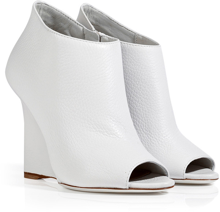 bf06d9044 Burberry Shoes Accessories Leather Peep Toe Ankle Boots, $745 |  STYLEBOP.com | Lookastic.com