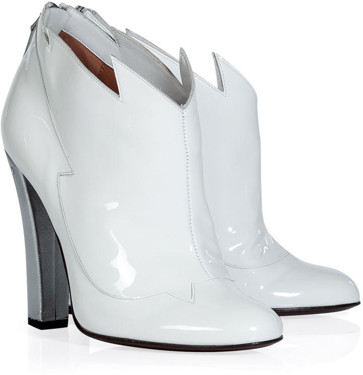 af20304efe8 Laurence Dacade White And Silver Patent Leather Booties, $845 ...