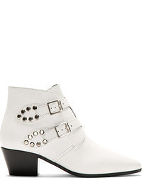 Saint Laurent White Leather Ankle Boots