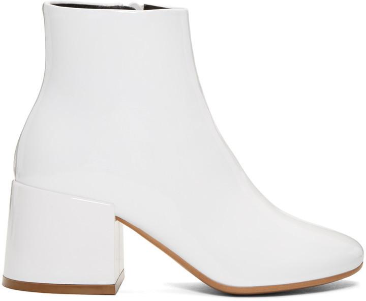 ... MM6 MAISON MARGIELA White Patent Cube Heel Boots ... 49965c565fb7