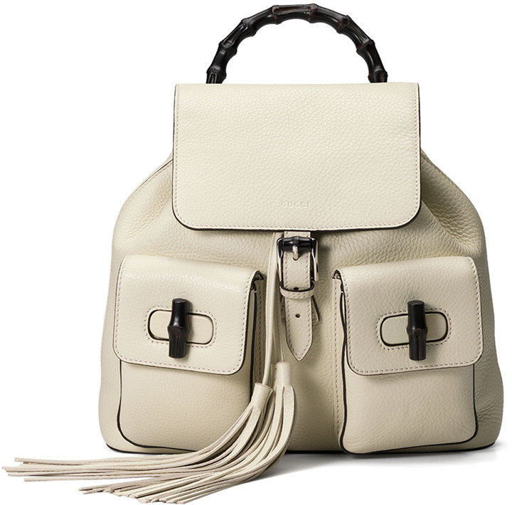 Gucci Bamboo Sac Leather Backpack White   Where to buy   how to wear 8a6d9e19f38
