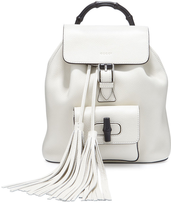 d9405bf5b Gucci Bamboo Small Leather Backpack White, $2,100 | Neiman Marcus ...