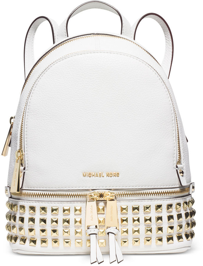 e9d7471616bc ... Leather Backpacks MICHAEL Michael Kors Michl Michl Kors Rhea Zip Small  Pyramid Stud Backpack ...