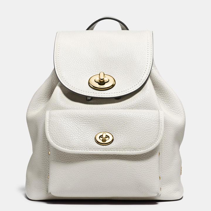 4269c061b ... White Leather Backpacks Coach Mini Turnlock Rucksack In Pebble Leather  ...