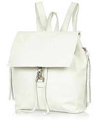 River Island White Leather Dog Clip Backpack
