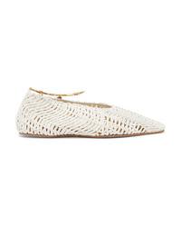 Stella McCartney Embellished Woven Cotton Point Toe Flats