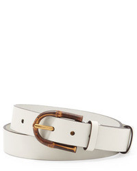 Gucci Bamboo Buckle Leather Belt White